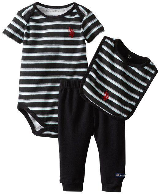 6ffa6e47f U.S. Polo Assn. Baby-Boys Newborn Striped Bodysuit Bib with Solid ...