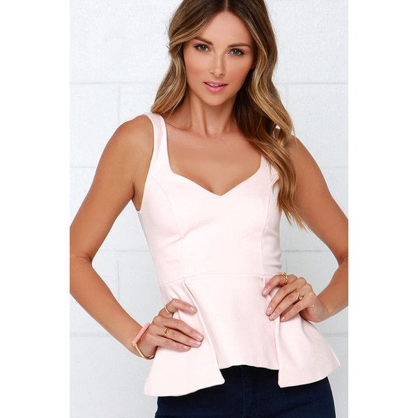 To Each Their Throne Blush Pink Peplum Top ($38) ❤ liked on Polyvore