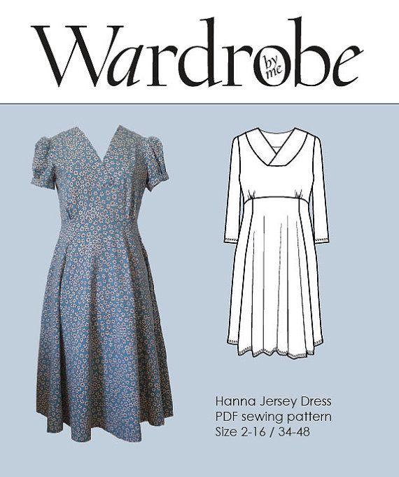 Dress PDF sewing pattern ladies fitted jersey knit digital PDF dress ... affd1f588