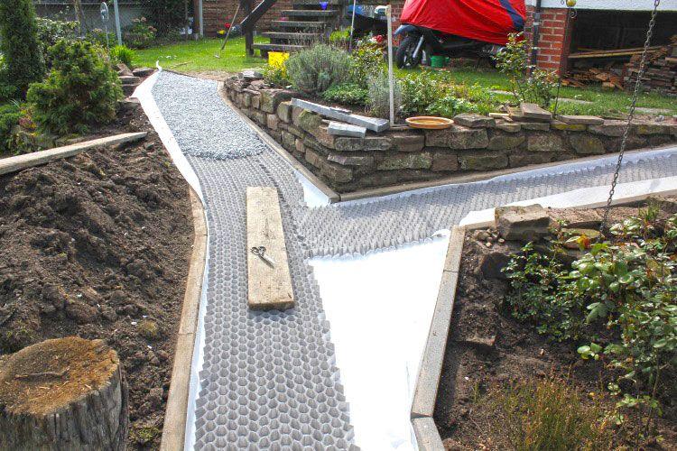 Anlegen Eines Stabilisierten Kiesweg Und Gartenweg Mit Den Kieswaben Kw50 Envirotek Garten Garten Landschaftsbau Gartenweg