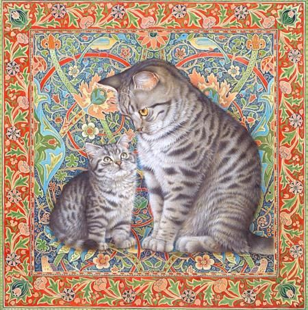 MINTAKA WITH HIS MOTHER LUCY ON AN ENGLISH CARPET (WM. MORRIS: BULLESWOOD CARPET) by LESLEY ANNE IVORY