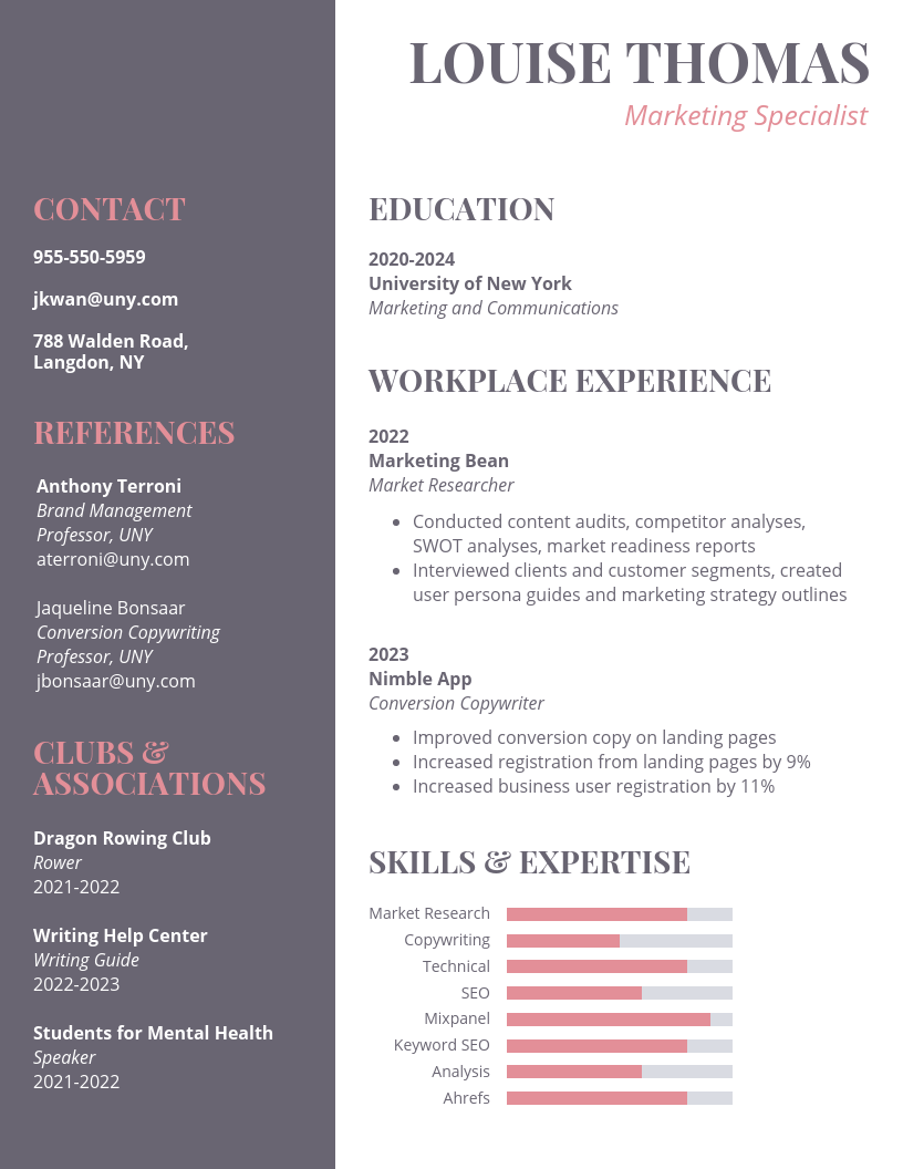 Light Marketing College Student Resume Template in 2020