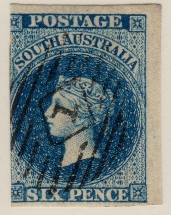 SOUTH AUSTRALIA 1855-58 6d DARK BLUE WITH STAR WATERMARK FINE USED