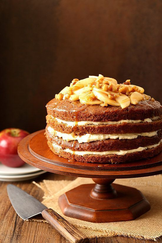 If you're looking for a show stopping cake but don't like to frost cakes, this naked cake is for you! Caramel Apple Butter Layer Cake with Whipped Caramel Cream Cheese Filling and Caramel Apple Walnut Topping made with @MussAppleButter will impress your family and friends at your next get together.