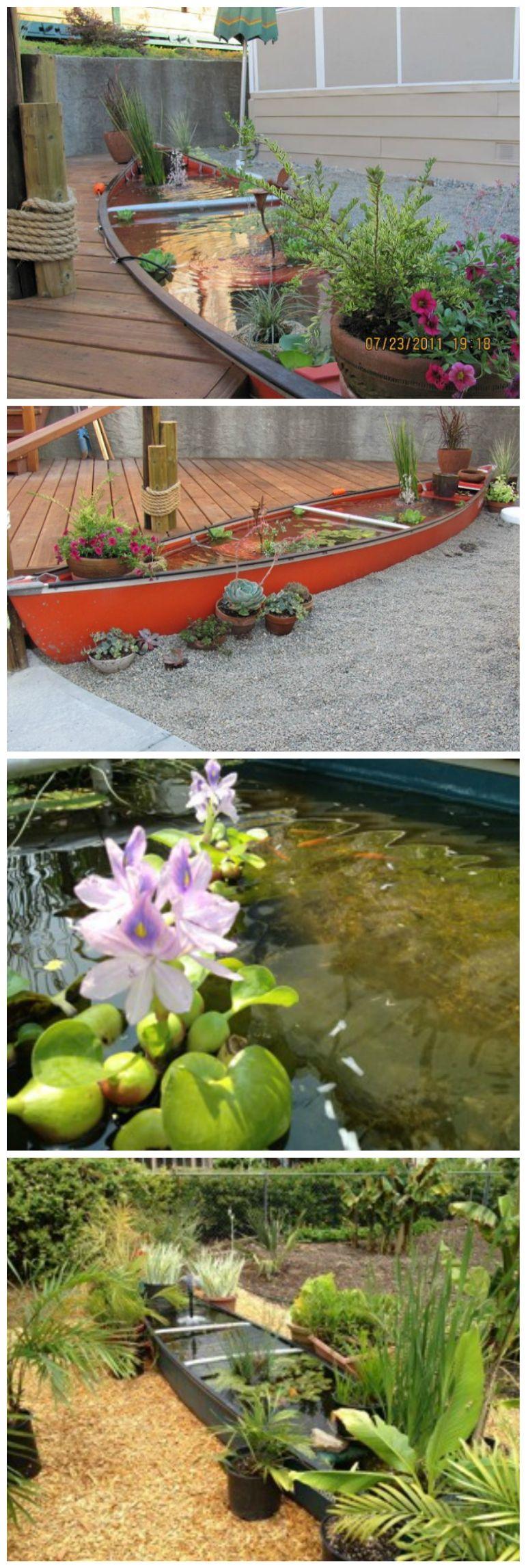 How to Create A Nautical Landscape Theme With A Canoe Pond