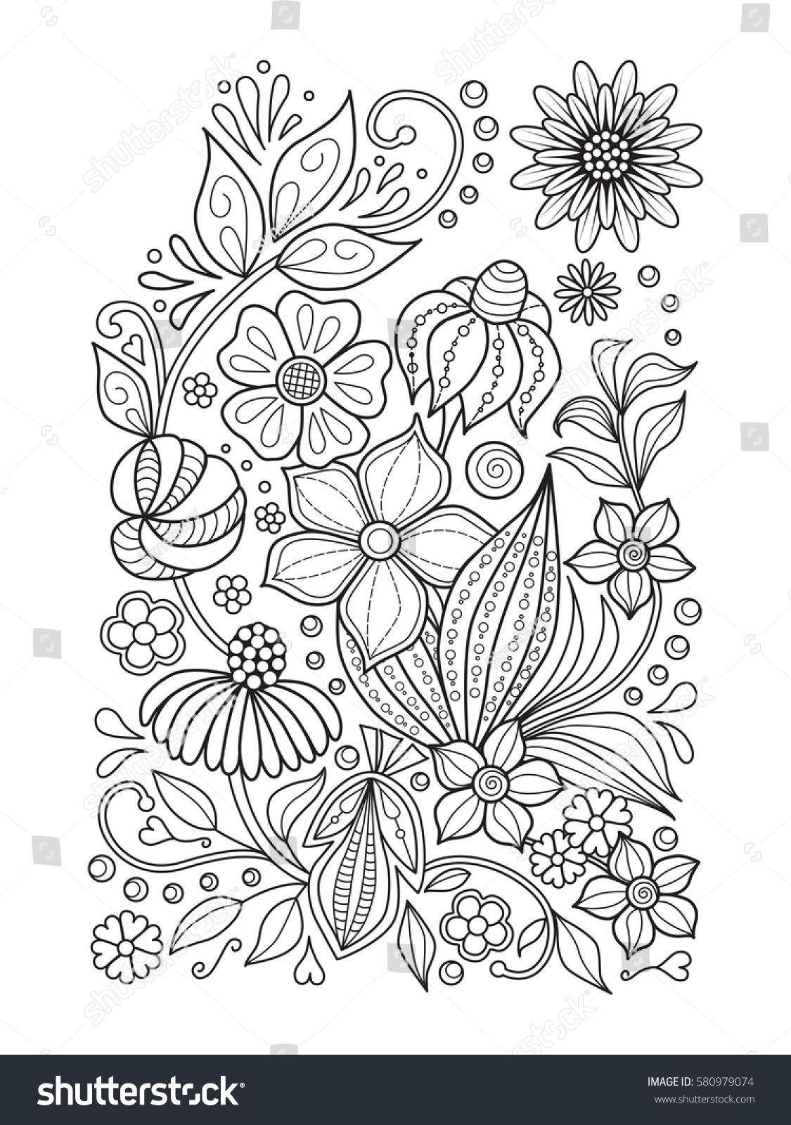 Doodle Floral Pattern In Black And White Page For Coloring Book Relaxing Job For Children And Adults In 2020 Coloring Books Zentangle Patterns Floral Illustrations