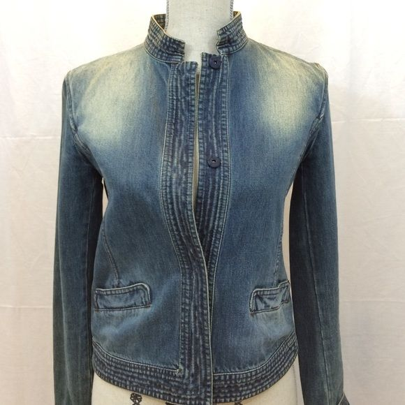 STUNNING MaxMara Vintage Denim Jacket. Only the Italians can make a jeans jacket look and fit like this! Purchased in Italy at the flagship MaxMara boutique. Snap buttons, cropped collar. Perfect condition. MaxMara Jackets & Coats Jean Jackets
