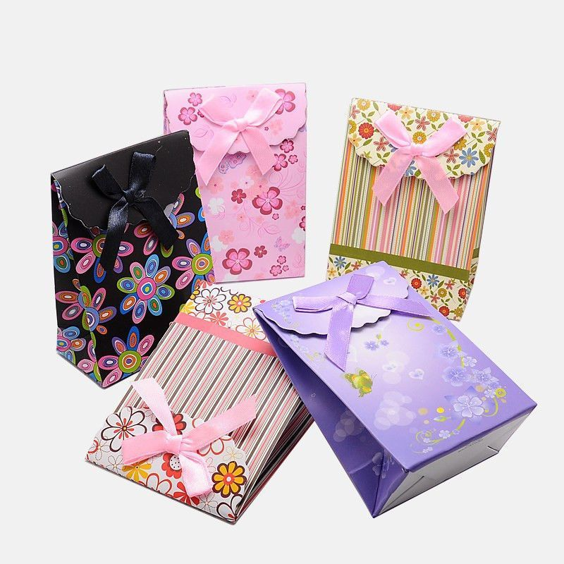 6x Mixed Color Paper Gift Shopping Packages Bags Rectangle with Bowknot 105x75mm