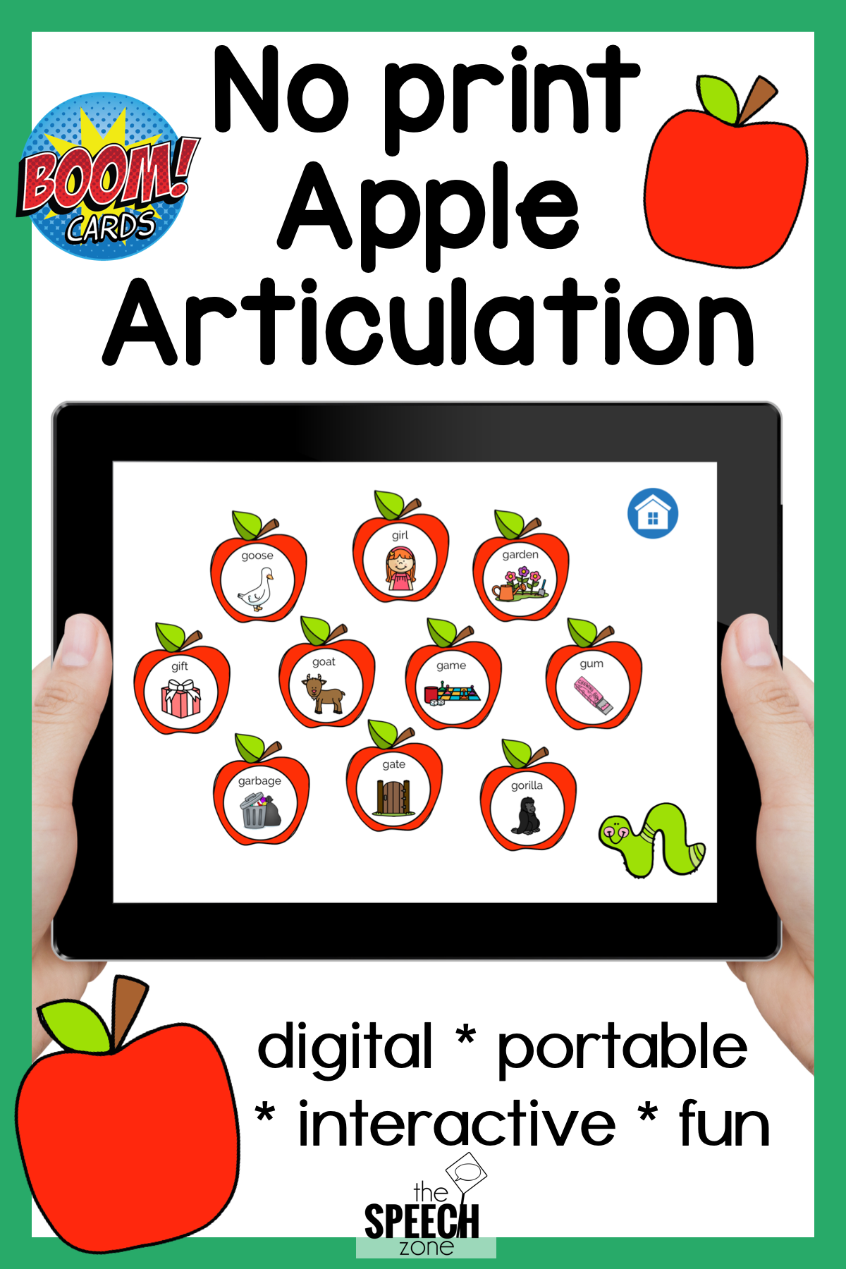 Boom Cards Apple Articulation Speech, language