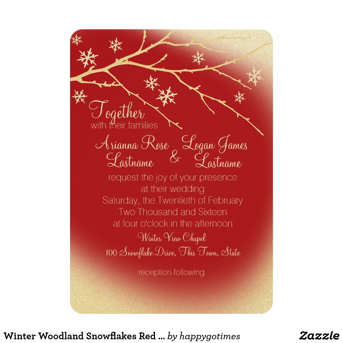 Winter Woodland Snowflakes Red and Gold Wedding Card Elegant winter ...