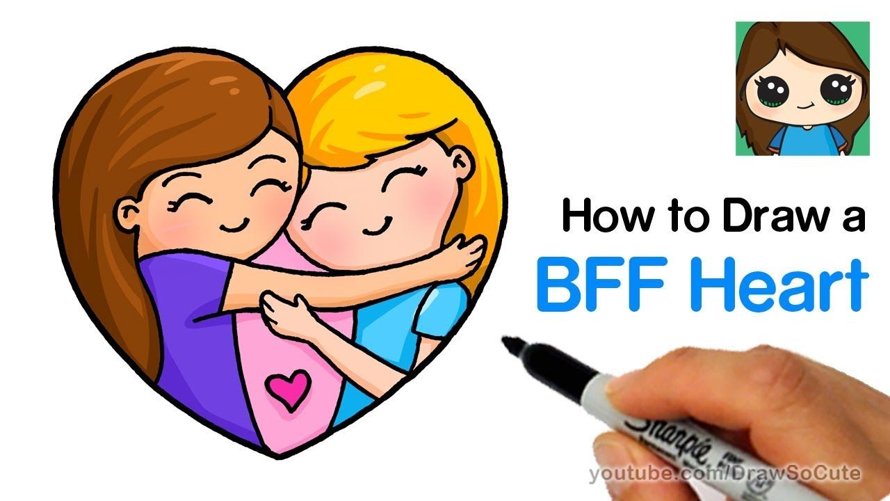 How To Draw Best Friends Forever Heart Easy Youtube Best