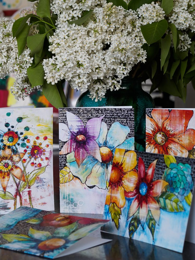 Beautiful floral art cards