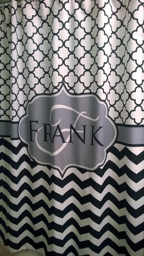 Shower Curtain Chevron Quatrefoil Lattice With Name Personalization Shown Navy And Red Fabric Shower Curtains Diy Shower Shower