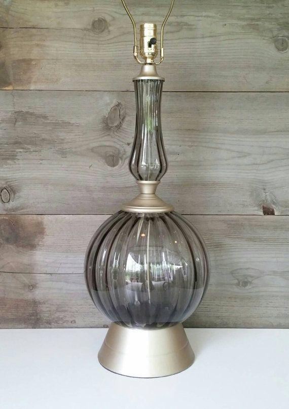 Vintage Lighting Smoked Glass Globe Table Lamp Refinished Etsy Smoked Glass Glass Globe Vintage Lighting