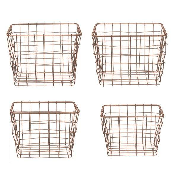 Linea Copper Storage Baskets - Set of 4 - Metal Wire Basket Set ...