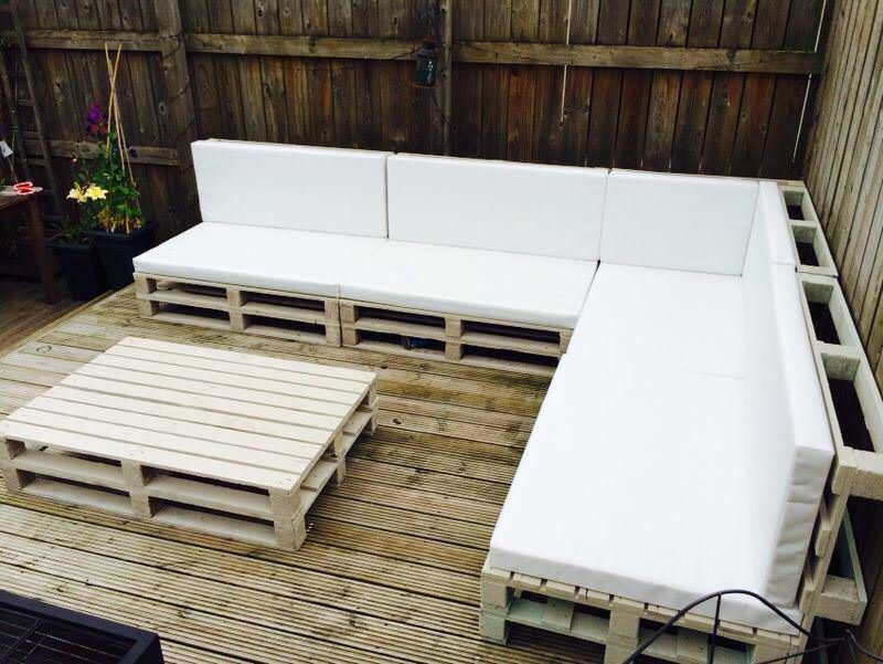 garden furniture with pallets. Saw Some Ideas On Pinterest, Needed New Garden Furniture, Boom! Furniture With Pallets
