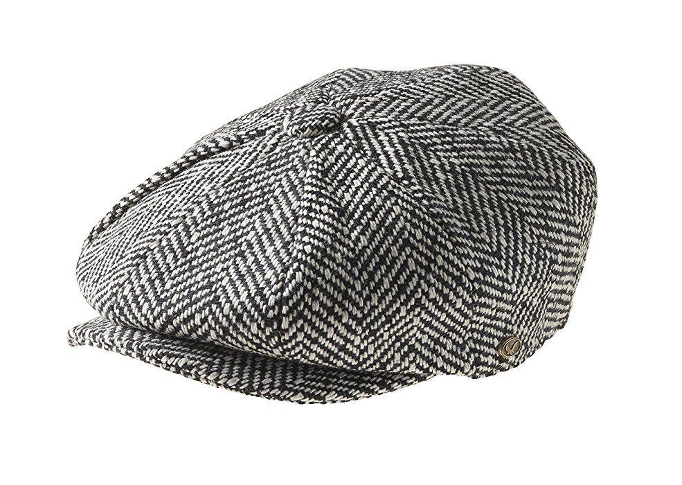 Peaky Blinders Men s 8 Piece  Newsboy  Style Flat Cap Wool Medium (57Cm)  Black Humbug at Amazon Men s Clothing store  d5a384e66a9