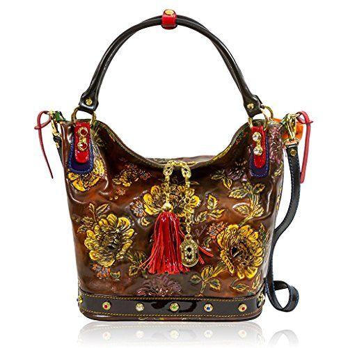 Marino Orlandi Italian Designer Brown Handpainted Leather Large Swarovski Bag Purses Leather Satchel Leather