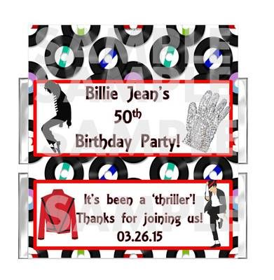 PERSONALIZED Michael Jackson Thriller Birthday Party candy bar wrappers FAVOR