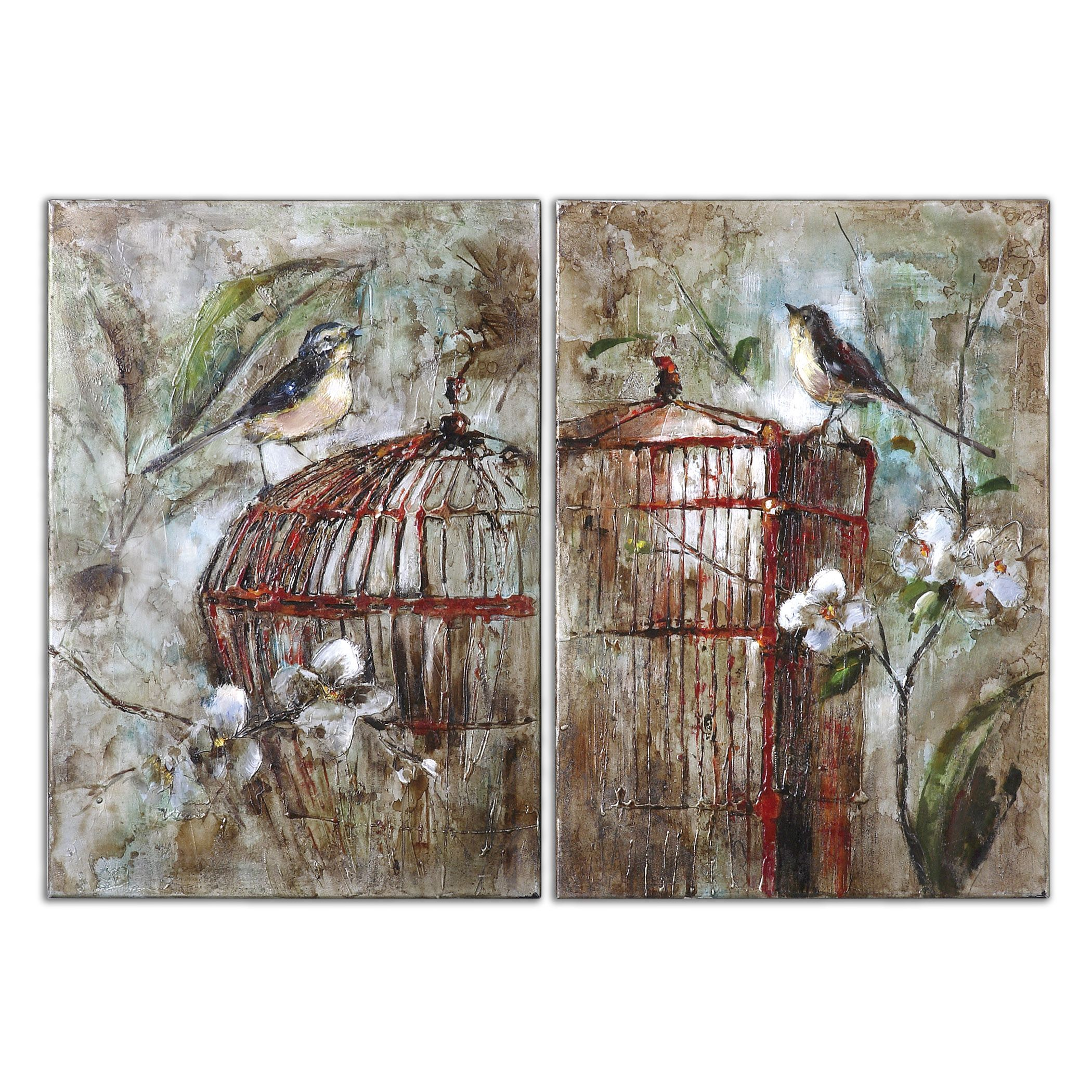 34226 Birds In A Cage Canvas Art Set2 18W X