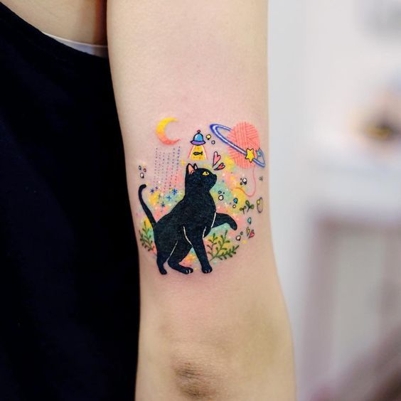 Cat and space discovered by Lorae13 on We Heart It