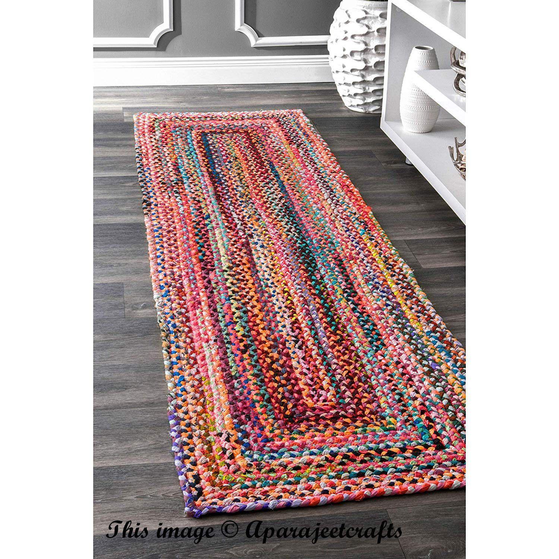 Hand Braided Bohemian Colorful Cotton Chindi Runner Rug Area Rugs Braided Rag Rugs Rug Runner