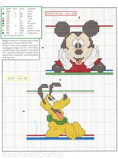 Mickey, Pluto cross stitch pattern