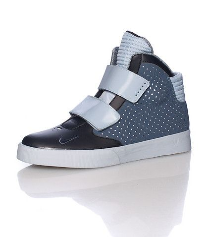 NIKE High top men's sneaker Patent leather with suede toe box Dual thick velcro  straps closure