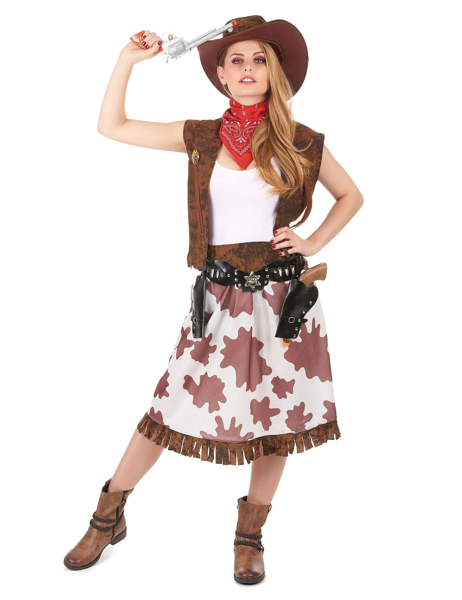 Costume cowgirl  Questo travestimento da cowgirl si compone di un gilé ac9791666f8f