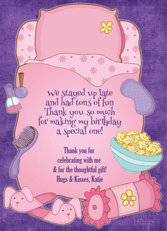 Sleepover pink slumber party themed birthday invitation thank – Almost Sleepover Party Invitations