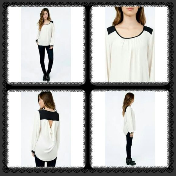 """Cream black draped back blouse Polyester.  24"""" front 30"""" back Everly Tops"""