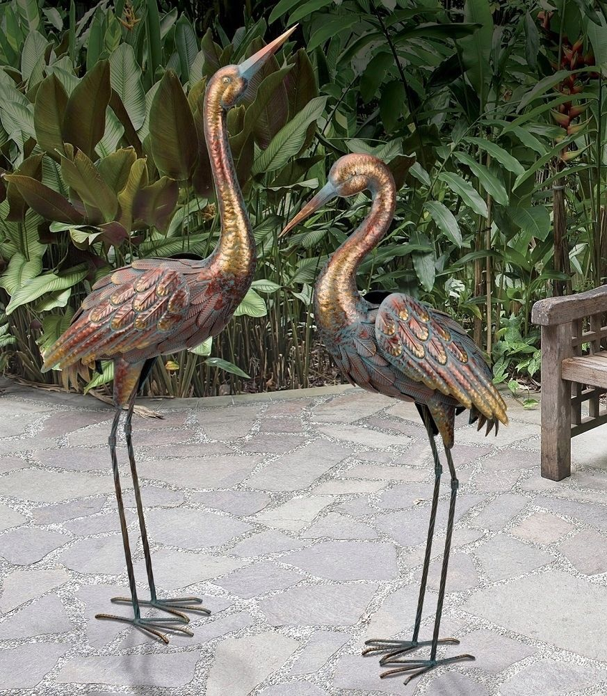 Copper Patina Crane Pair Metal Garden Statues Bird Sculpture Heron Rainbow Color Yard Sculptures Copper Patina