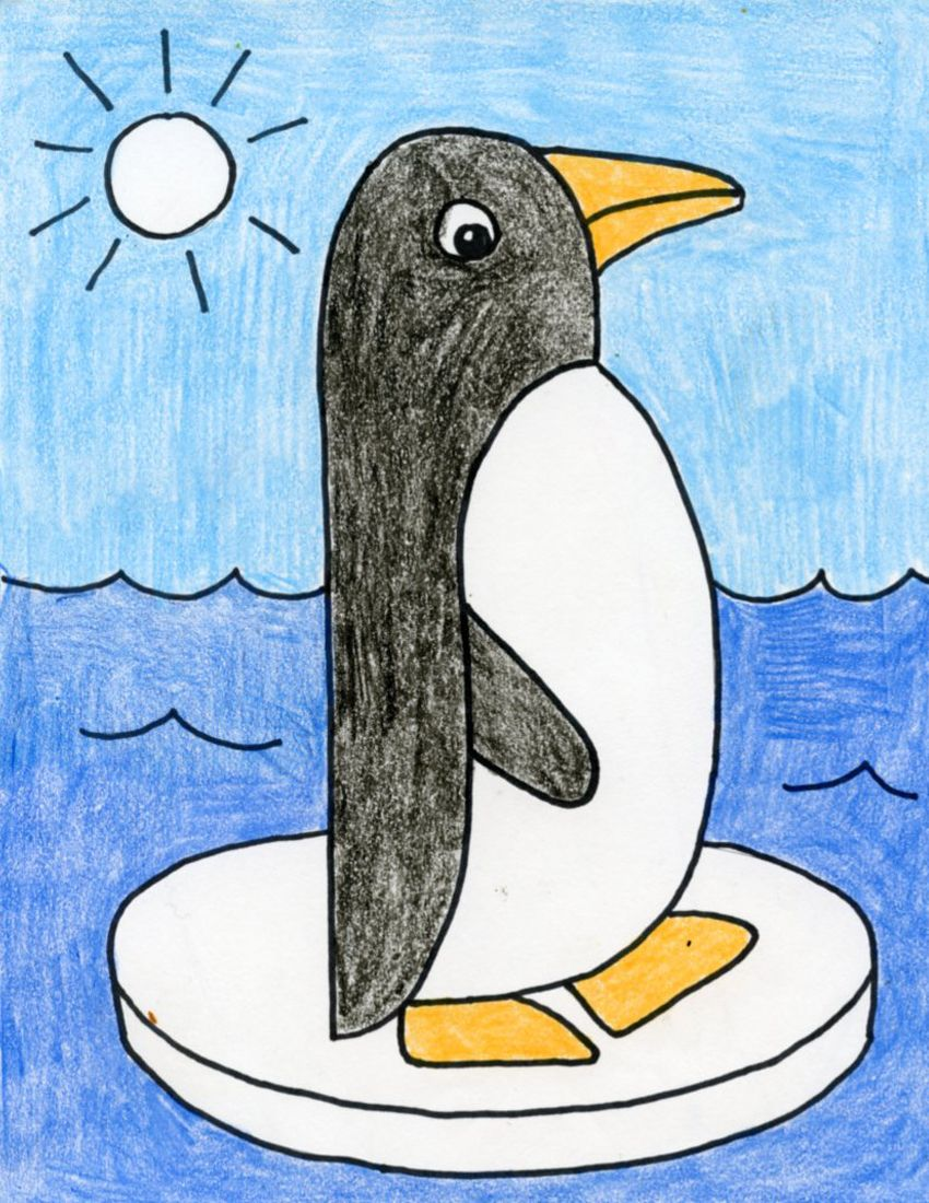 Draw an Easy Penguin | Art drawings for kids, Basic drawing for ...