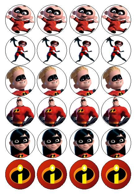 the incredibles pics for magnets cupcake toppers etc