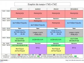 Un exemple d 39 emploi du temps pour une classe de cm1 cm2 for Idee emploi