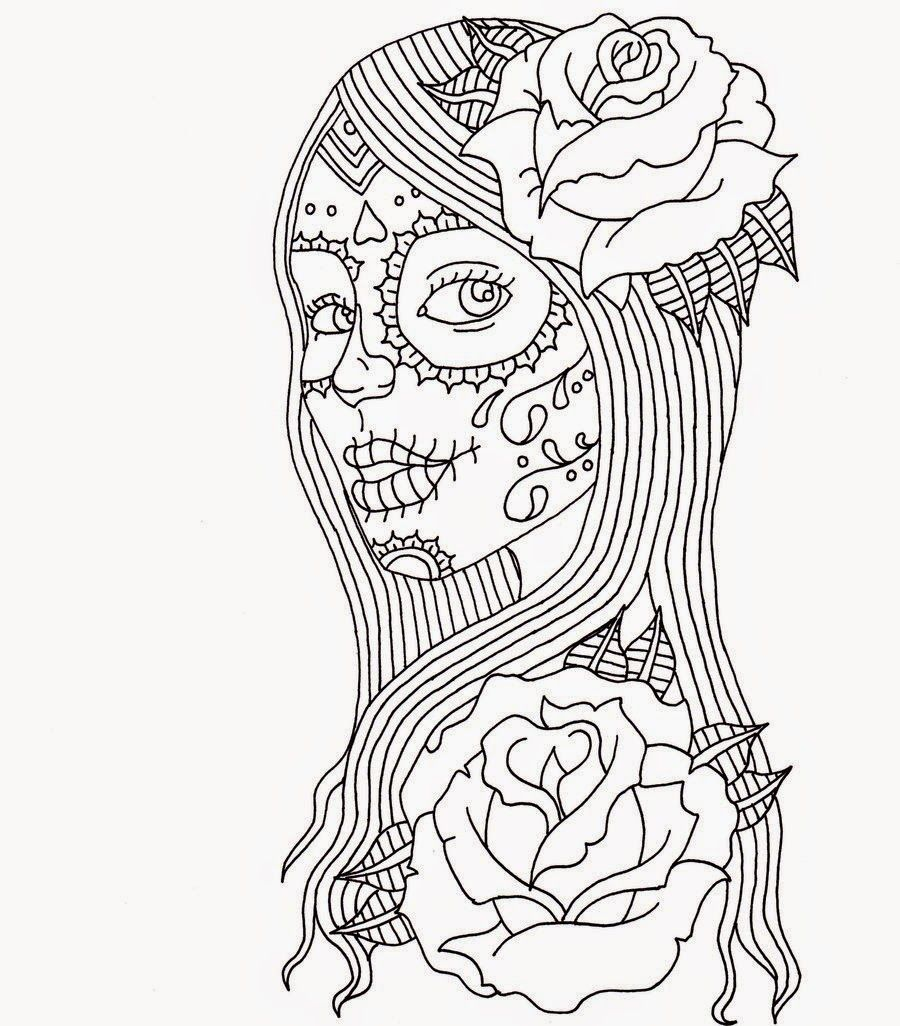 Day Of Dead Girl Coloring Pages Day Of The Dead Coloring Page