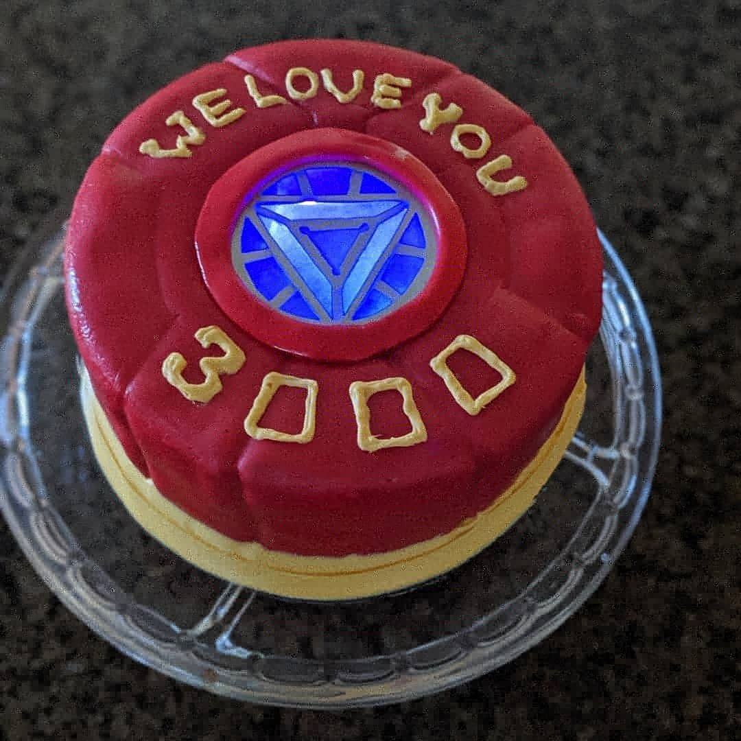 Pleasing Iron Man Cake For Fathers Day Light Up Arc Reactor Avengers Personalised Birthday Cards Akebfashionlily Jamesorg