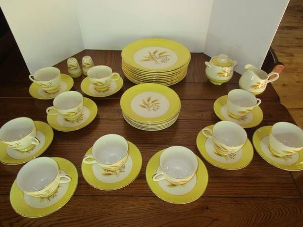 $85 Century Service Corporation Autumn Gold Semi Vitreous Dinnerware $85 Gold rimmed wide yellow band & $85 Century Service Corporation Autumn Gold Semi Vitreous Dinnerware ...
