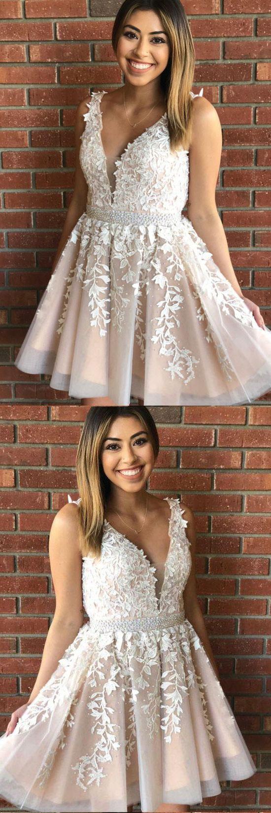 Princess V Neck Short A Line Lace Homecoming DressGraduation