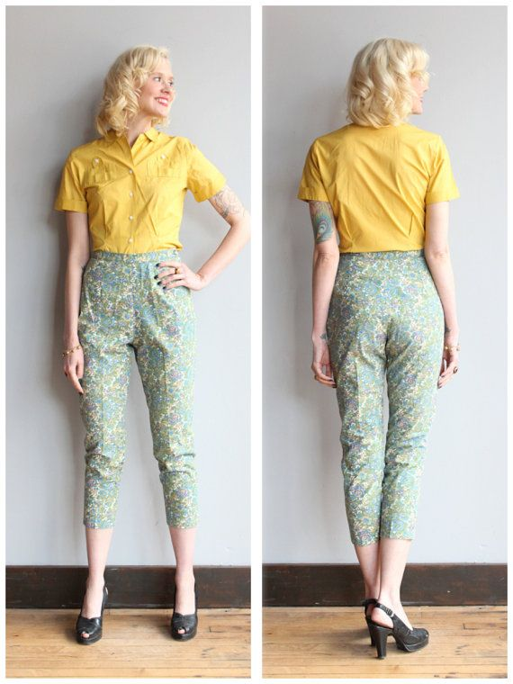 1960s Pants // Floral Cigarette Pant // vintage 60s pant ...