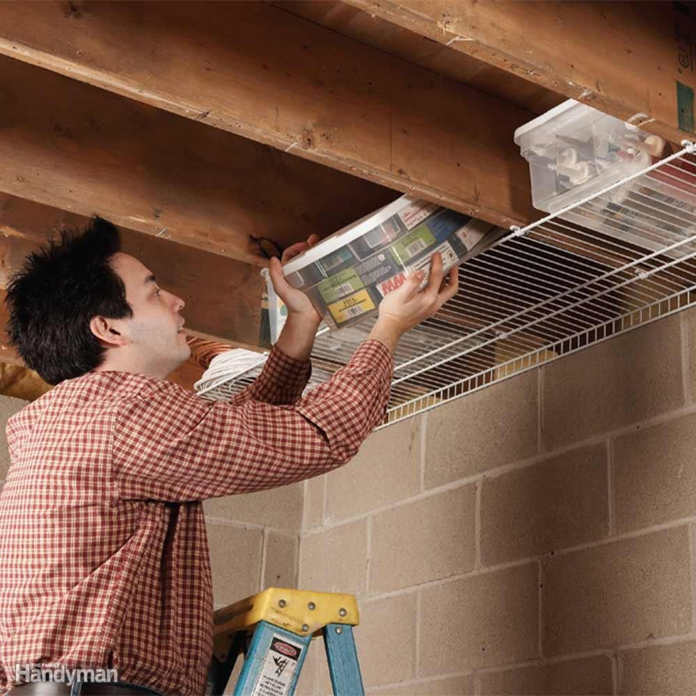 Joist Space Storage Don T Waste All That Space Between Joists In A Basement Or Garage Screw Wire Shelvi Basement Ceiling Basement Apartment Basement Storage