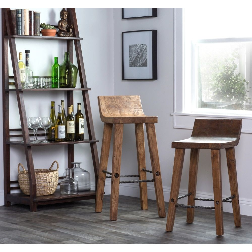 Kosas Home Tam Rustic Brown Elm Wood and Iron Low Back 30-inch Bar Stool - Free Shipping Today - Overstock.com - 15060889 - Mobile