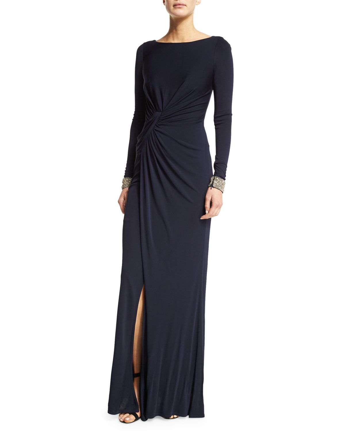 Embellished-Cuff Ruched Gown, Navy   David meister and Products