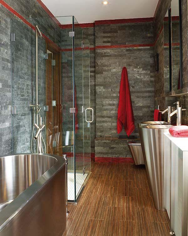 salle de bain ardoise bois et métal   Idées ... SDB   Pinterest ...