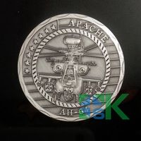 2015 Military Weapons 5pcs/lot 40x3mm silver plated  USA Air Force Apache AH64 Helicopter Gunships Coin