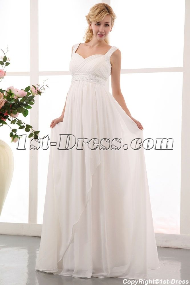 flowing straps long chiffon plus size maternity/pregnant wedding