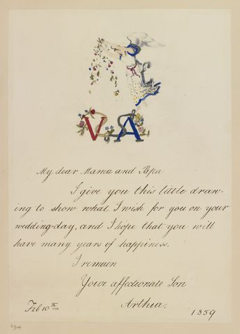 Card For The Wedding Anniversay Of Queen Victoria And Prince Albert Dated 10 Feb 1859 By Princ Queen Victoria Queen Victoria Family Victoria Queen Of England