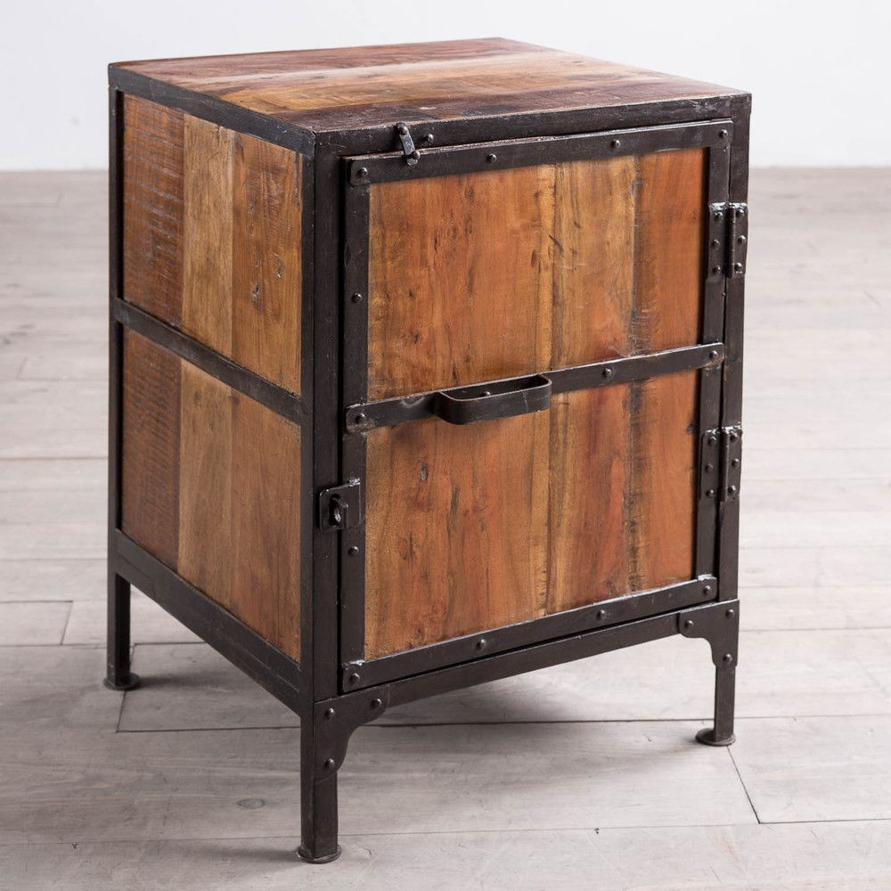 Hyderabad reclaimed wood and metal side table india for Aluminium kitchen cabinets hyderabad