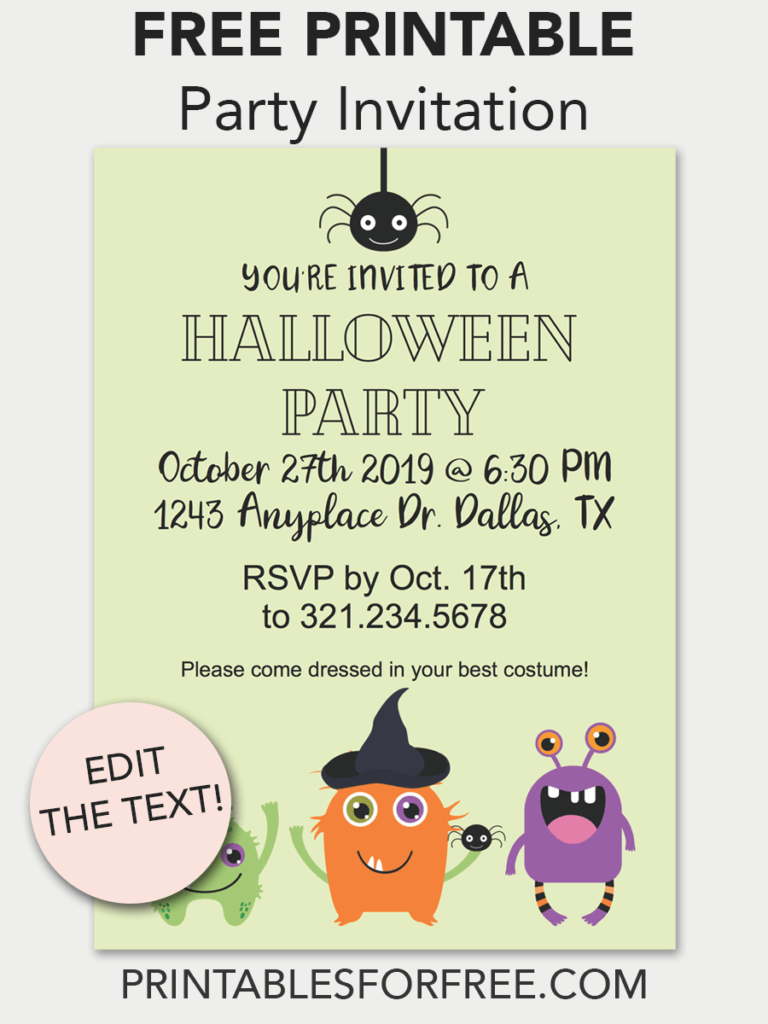 halloween monster printable invitation in 2018 free printables
