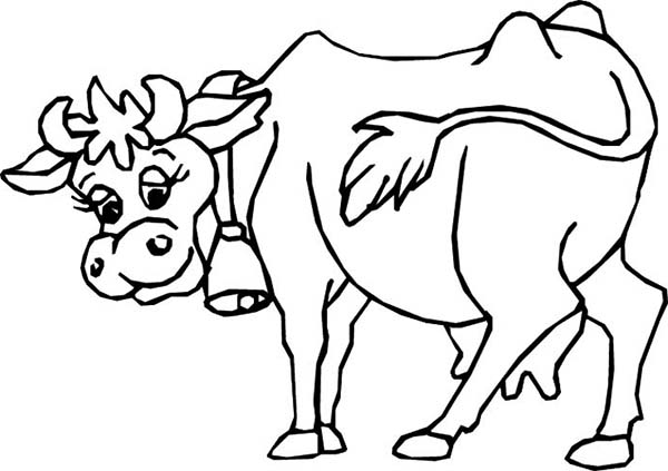 Cow With Bell On Her Neck Coloring Page Kids Play Color Cow Coloring Pages Animal Coloring Pages Coloring Pages